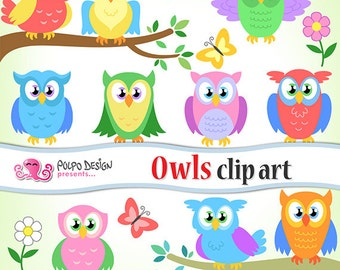 Owls  clip art. Commercial & Personal Use. Instant Download. bright colors, colorful digital owl clipart, scrapbooking, branch, cute, flower