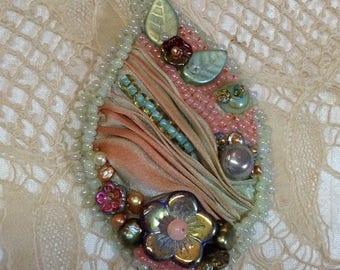 Silk Shibori Embellished Pendant mint peach