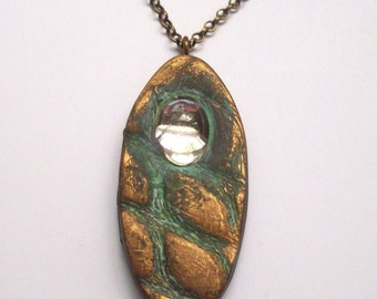 Pendant Necklace Polymer Clay with Vintage Crystal, Organic Textures