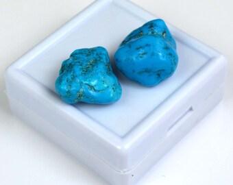 35.35 Ct High Quality Natural Arizona Mine Kingman Turquoise Gemstone Rough Pair