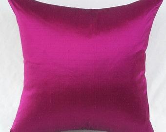 magenta  pillow, decorative dupioni silk cushion cover Dark majantha Jewel Tone cushion cover. Luxury silk pillow Custom made.16 to 22  inch