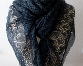 Dark Blue Navy Linen Scarf Lace Shawl Knitted Natural Summer Wrap Women Accessory