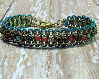 Rhinestone Leather Bracelet, Leather Bracelet, Chain Bracelet, Turquoise Bracelet, Statement Bracelet, Boho Bracelet, Leather Jewelry