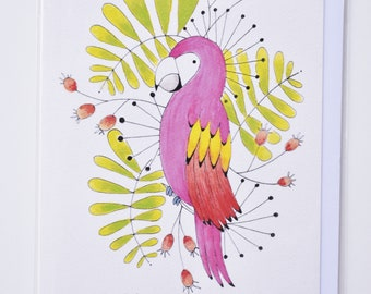 Parrot Blank You Card - Any Occasion - Greeting Card