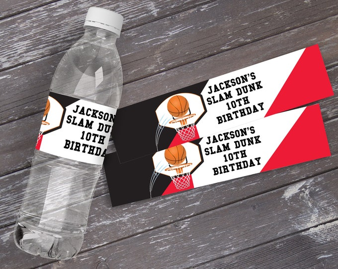 Basketball Water Bottle Label/Wrap - Basketball Party, Basketball Birthday. Basketball Party | Editable DIY Instant Download PDF Printable