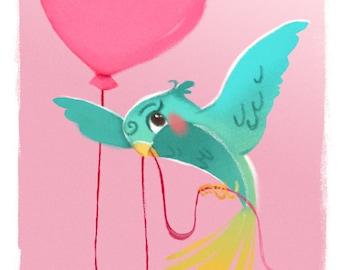 Pink and Turquoise Baby Nursery,  Bird Art Print, Baby Girl Nursery, Girls Room Decor, Bird Painting