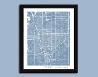 Wichita map, Wichita city map art, Wichita wall art poster, Wichita decorative map