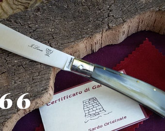 Sardinian knife Guspinese in bovine horn with steel core, with guarantee certificate