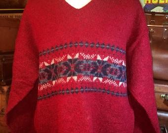 No Brand Red Wool Fair Isle Style Men's Winter Handknit V Neck Sweater Size XL/XXL