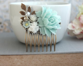 Mint Green White Ivory Pearl Brass Leaf Flower Wedding Bridal Hairpiece Bridesmaids Hair Accessory Mint Woodland Country Nature Mint Wedding