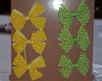 set of six bows and two satin ribbons