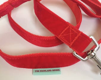 Red,Velvet,Lead,nickel hardware,strong,greyhound,labrador,lurcher,fancy,readymade,handmade