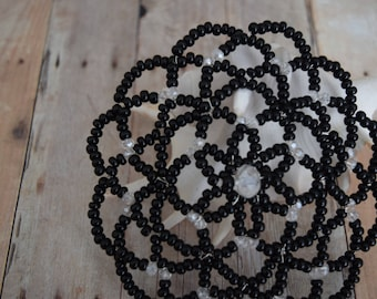 Black Beaded Kippah - Women Beaded Kippah - Temple Head Covering.