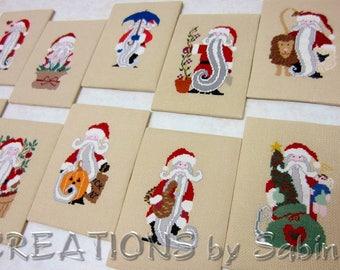 Santa Claus Cross Stitch Calendar Months Ready To Frame Monthly Seasons Handmade 5x7 Inches Christmas Halloween Winter American Flag Summer