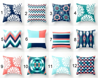 Throw Pillows, Pillow Covers, Navy Aqua Coral Teal Pillow Covers, Mix and Match Home Decor (M23) Decorative Pillows