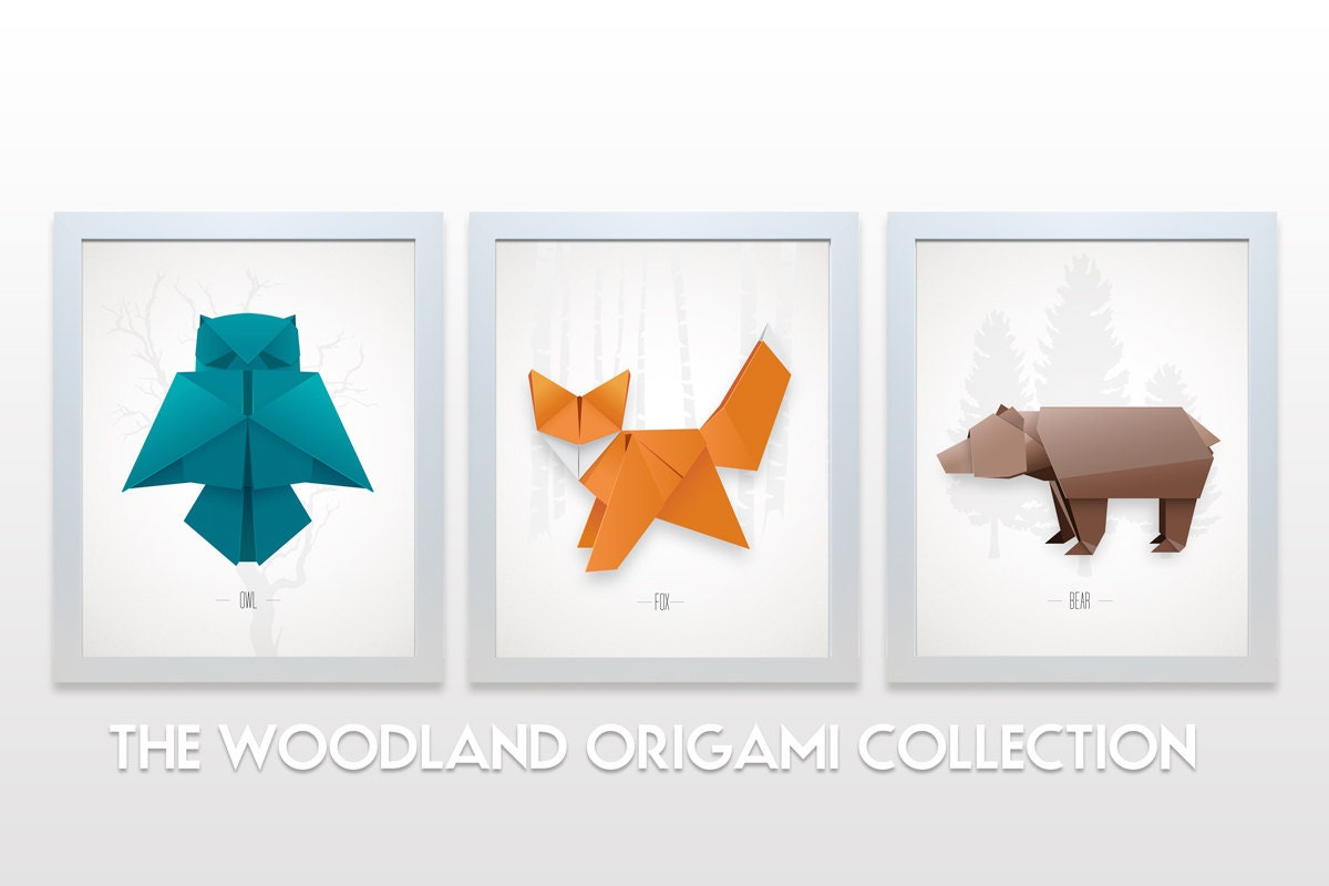 Origami Animal Collection Woodland Print Set Minimal Modern