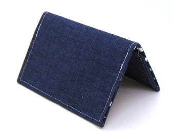 Mini Wallet / Card Holder / Business Card Holder / Card Case / Gift Card Holder/ Small Wallet - Indigo Blue Twill