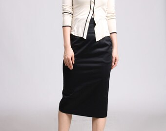 High Waist Skirt with Pockets, Black Pencil Skirt, Midi Skirt, Office Skirt, Knee Length Skirt, Straight Skirt, Women Skirt, Work Skirt
