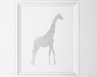 Giraffe Watercolor Art Print in Gray, Jungle Animal Wall Art, Grey Giraffe Silhouette Printable  Art Poster Animal Nursery Decor