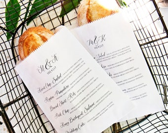 Wedding Menu Bag - Personalized Simple Calligraphy Font - Bread Wrap Style - Custom Menu Baguette - Wax Lined - 20 White Favor Bags included