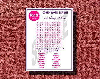 Wedding Day Word Search, Wedding Word Find, Word Search for Your Wedding, Bridal Shower, Engagement Party, Rehearsal Dinner or any Event