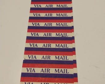 VIA Airmail stickers, sheet of 10, unused. Pre-gumed. Great for crafts, postal collectors.