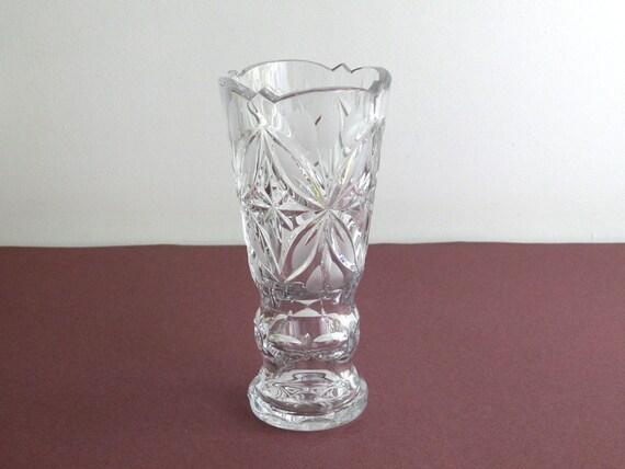 Cut Glass Vase Soviet Vintage Pressed Glass Vase Clear