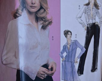 Vogue 2691 Vogue Couture Sewing Pattern Misses' Suit Jacket Lace Blouse Skirt and Pants UNCUT Factory Folds Sizes 6-8-10 Bust 30.5-32.5""