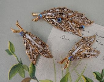 3 pc German Light Weight Eloxal Aluminum Leaf Brooch & Earrings Set    OV16