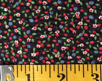 1970s calico black with tiny flowers and berries – 2.5 yards