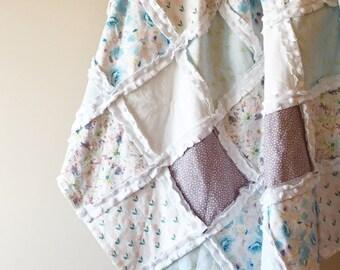 Watercolour floral crib sized rag quilt