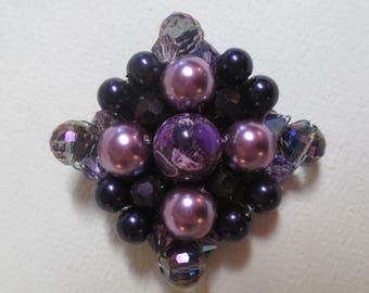 Statement Brooch Handmade Purple Pearls Crystals Fabulous
