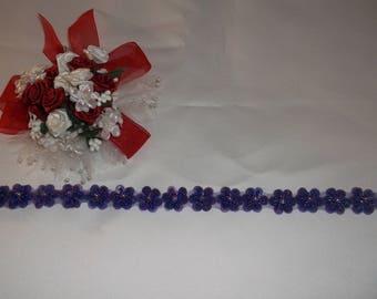 Dark Purple Sequin Flower Trim