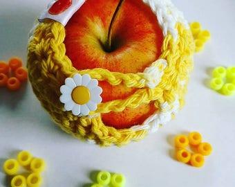 Apple cozy Fruit cozy Handmade Crochet - apple cosy - Lunch bag buddy-  Daisy
