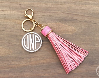 Large PINK Leather Monogram Keychain Tassel, Personalized Key Chain, Initial Keychain, Key Fob