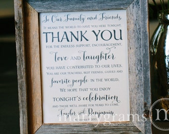 Wedding Reception Thank You Sign - To Our Family and Friends Signage - Matching Table Numbers Available - Wedding Guest Thank You Card SS02