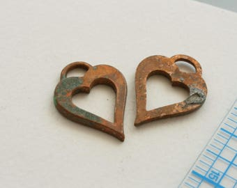 Heart drops, charms. Copper, heavily oxidized. Sold by the pair. Beadwork, Jewelry making, Jewelry supply. Pendant, Charm.