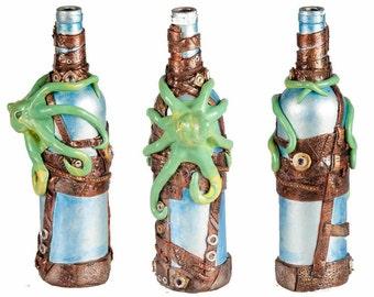 """11"""" Steampunk Octopus Oil Lamp Bottle - Blue/Silver"""