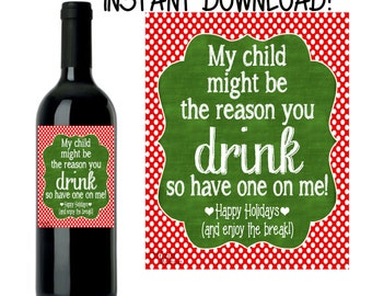 Teacher Wine Label, Teacher Gift, Teacher Christmas Wine Label, Christmas Wine Label, INSTANT DOWNLOAD DIY