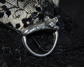 Designer James Yesberger Large Heavy Detailed to the Paws Kitty Cat Ring in Vintage Sterling Silver #BKC-KRNG38