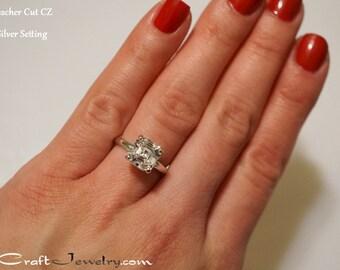 Asscher Cut CZ Engagement Ring 4 Prong Sterling Silver 2.68 Carat Cubic Zirconia Promise Ring Solitaire Faux Diamond Simulant Size 3-13