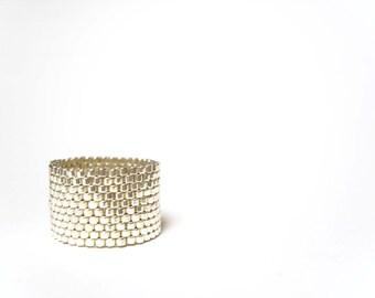 Seed Beaded Ring, Silver Ring, Alternative Wedding Ring, Silver Bead Ring UK