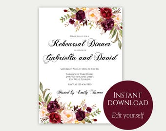 Rehearsal Dinner Invitation, Rehearsal Dinner Invites, Dinner Invitation Template, Instant Download, Rehearsal Dinner Ideas, Marsala