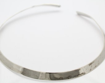 Vintage Sterling Silver Neck Cuff Collar Necklace 1980s. [5354]