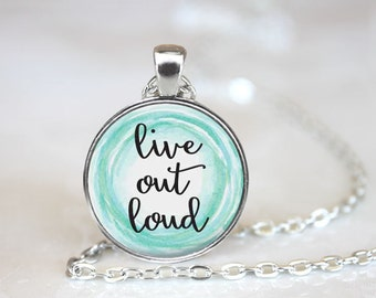 Live Out Loud Changeable Magnetic Pendant Necklace with Organza Bag