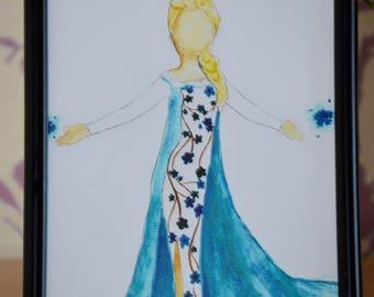 Disney Princess Elsa Watercolour Print