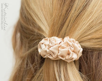 Cream sand fabric french barrette, small  french barrette, beige hair clip, hair slide, Hair Accessory, pastel,