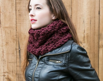 Knit Cowl Scarf, Chunky Wool Cowl, Holiday Gifts, THE WEEKENDER COWL shown in Red Wine