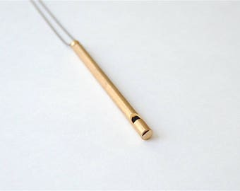 Long Brass Whistle Necklace for Student. For Biker. Gift for Teacher. Vertical Bar Pendant. Long Necklace for Men. Gift for Him or Her..