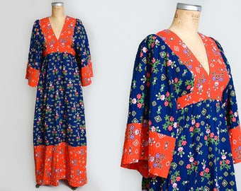 70s Young Innocent Kimono Imperial Style Patchwork Hippie Dress